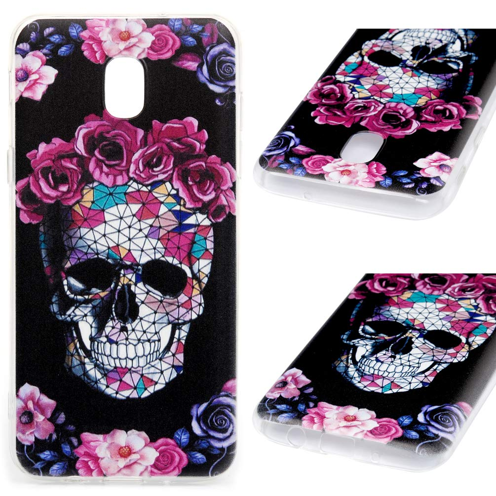 Galaxy J3 2018 Case, J3 Star Case, J3 Achieve Case, Express/Amp Prime 3 Case, J3 V 3rd Gen Case, J3 Orbit Case Soft Cover Cute Painting Bumper Shell Skin for Samsung Galaxy J3 2018 - Skull