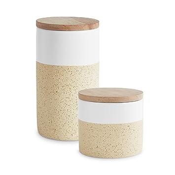 Botes de cerámica con tapa de madera Soft Sand | Tapa hermética de madera de caucho