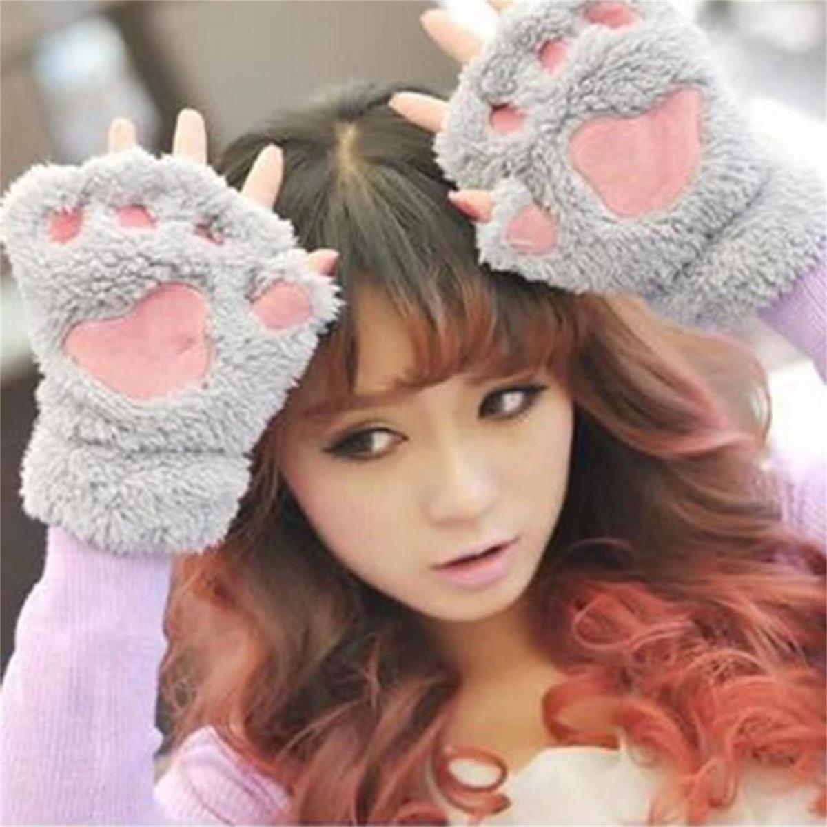 LONGQI Bär Katze Claw Half Finger Plüsch Handschuhe Niedliche Kinder Erwachsene Warm Handschuhe