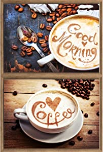 Bimkole 2 Pack 5D Diamond Painting Kits Coffee, Full Drill Letters Love DIY Rhinestone Embroidery Set Paint with Diamonds Art by Number Kits Cross Stitch Home Wall Craft Decoration (12x16in)