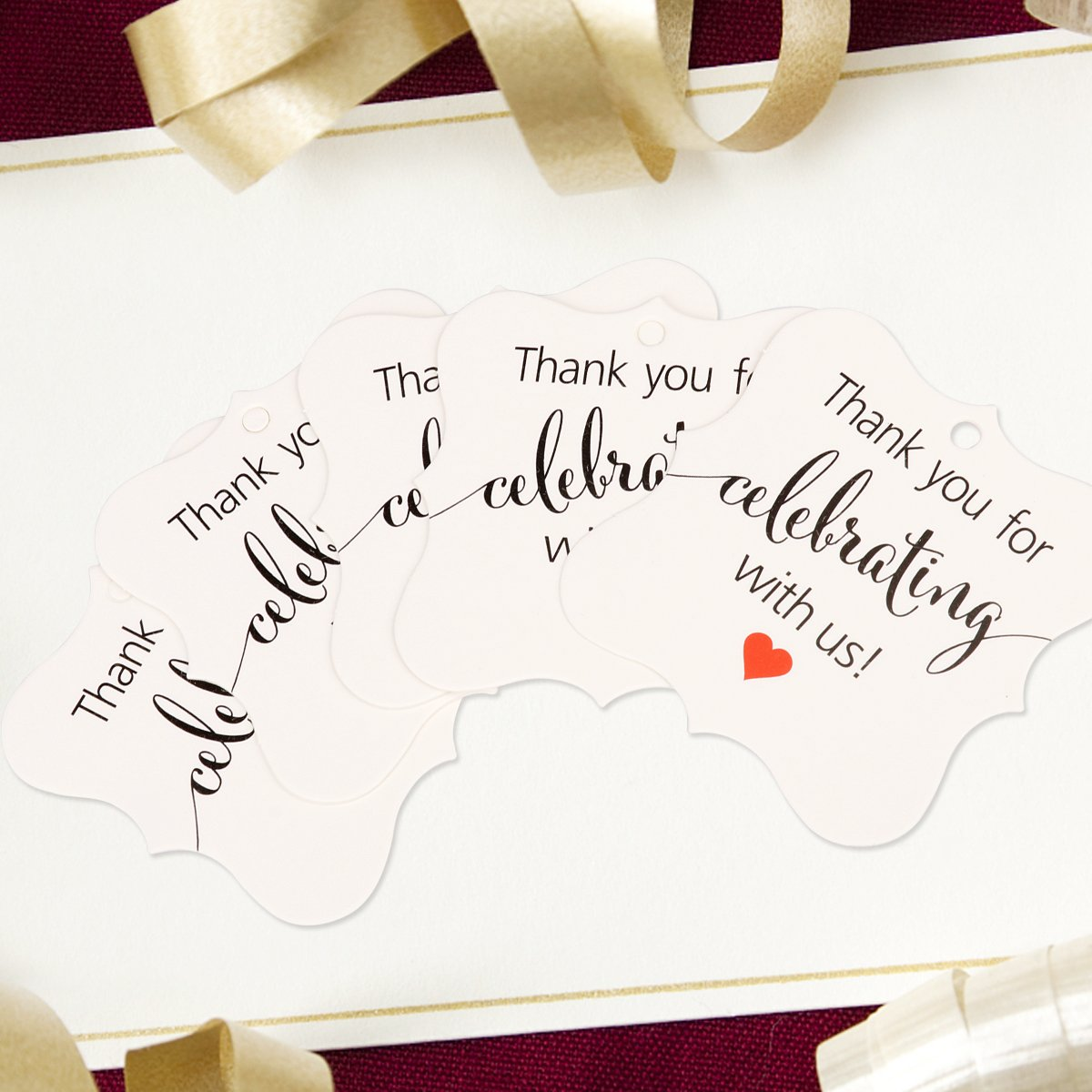 Aprince Paper Favor Gift Tags 100 PCS Thank You Tags Wedding Favor Gift Tags Thank You for Celebrating with Us White Square Tags with 20m Natural Jute Twine Perfect for Bridal Baby Shower Anniversary by Aprince (Image #4)