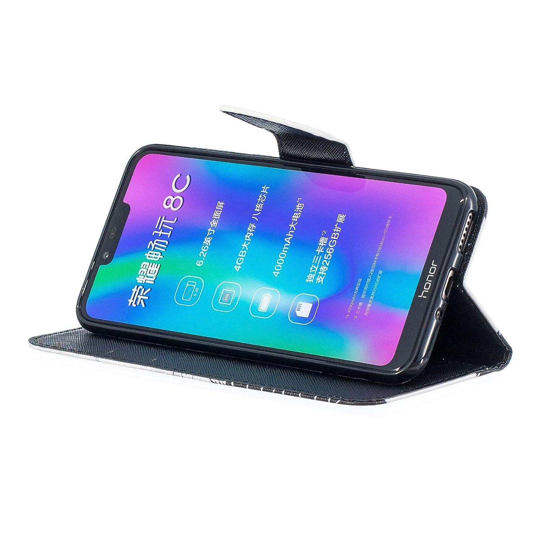 Housse de t/él/éphone Huawei Honor Play,Uposao Etui Huawei Honor Play Coque PU Pochette Portefeuille Cuir Coque de Protection Stand Housse Magnetique a Rabat 3D effet Motif Peint Premium Coque