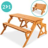 Best Choice Products 2-in-1 Transforming Interchangeable Outdoor Wooden Picnic Table/Garden Bench for Backyard, Porch…