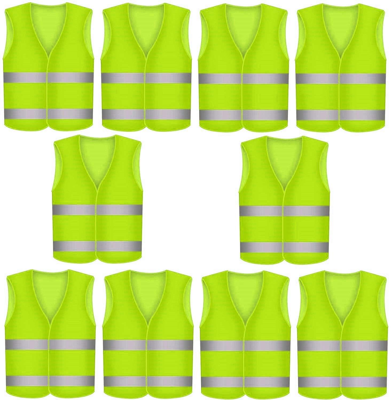 10piezas Chaleco reflectante, para averíasy de seguridad, color amarillo neón, para accidentes con 360grados de visibilidad Star-Line® No se arruga, lavable - KFZ EN 471 Niboline
