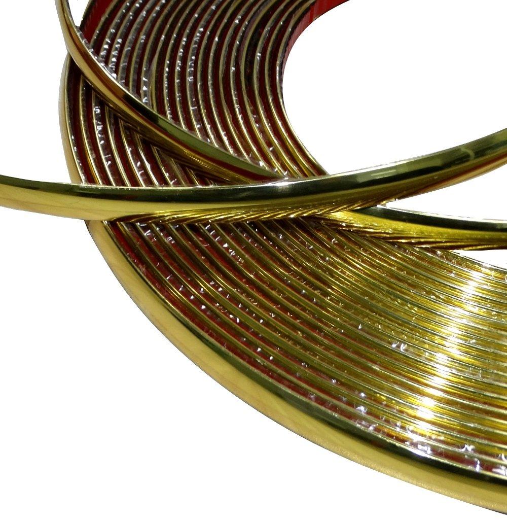 Aerzetix: 12mm 4.5m Bande baguette adhésive couleur or doré C40132