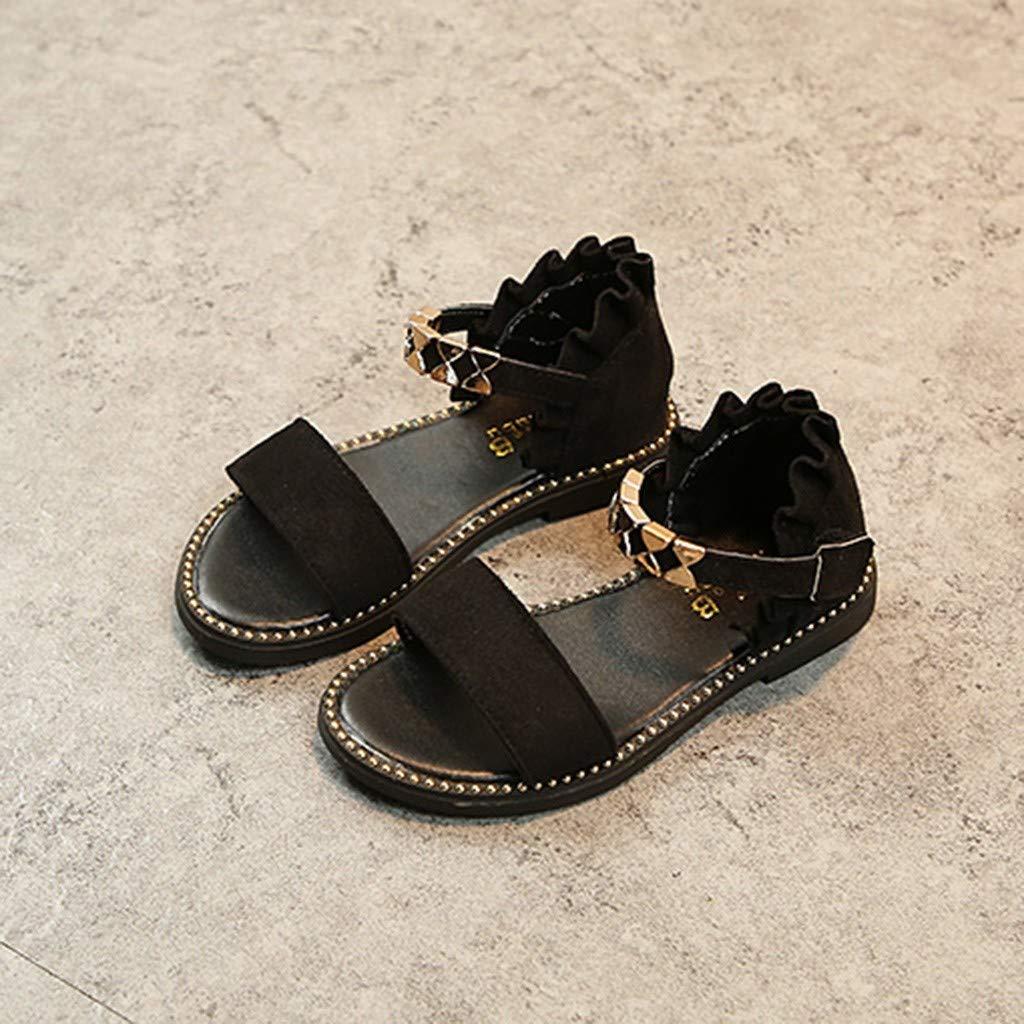 Summer Children Infant Kids Baby Girls Wave Metal Princess Shoes Sandals Randolly Toddler Shoes