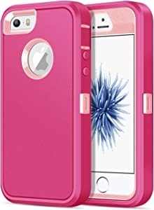 Jelanry iPhone 5S Case Heavy Duty Armor for iPhone 5 Dual Layer Protective Shell iPhone SE 2016 Case Shockproof Sports Rugged Phone Case Anti-Scratches Cover Non-Slip Bumper Hybrid Case Rose Pink