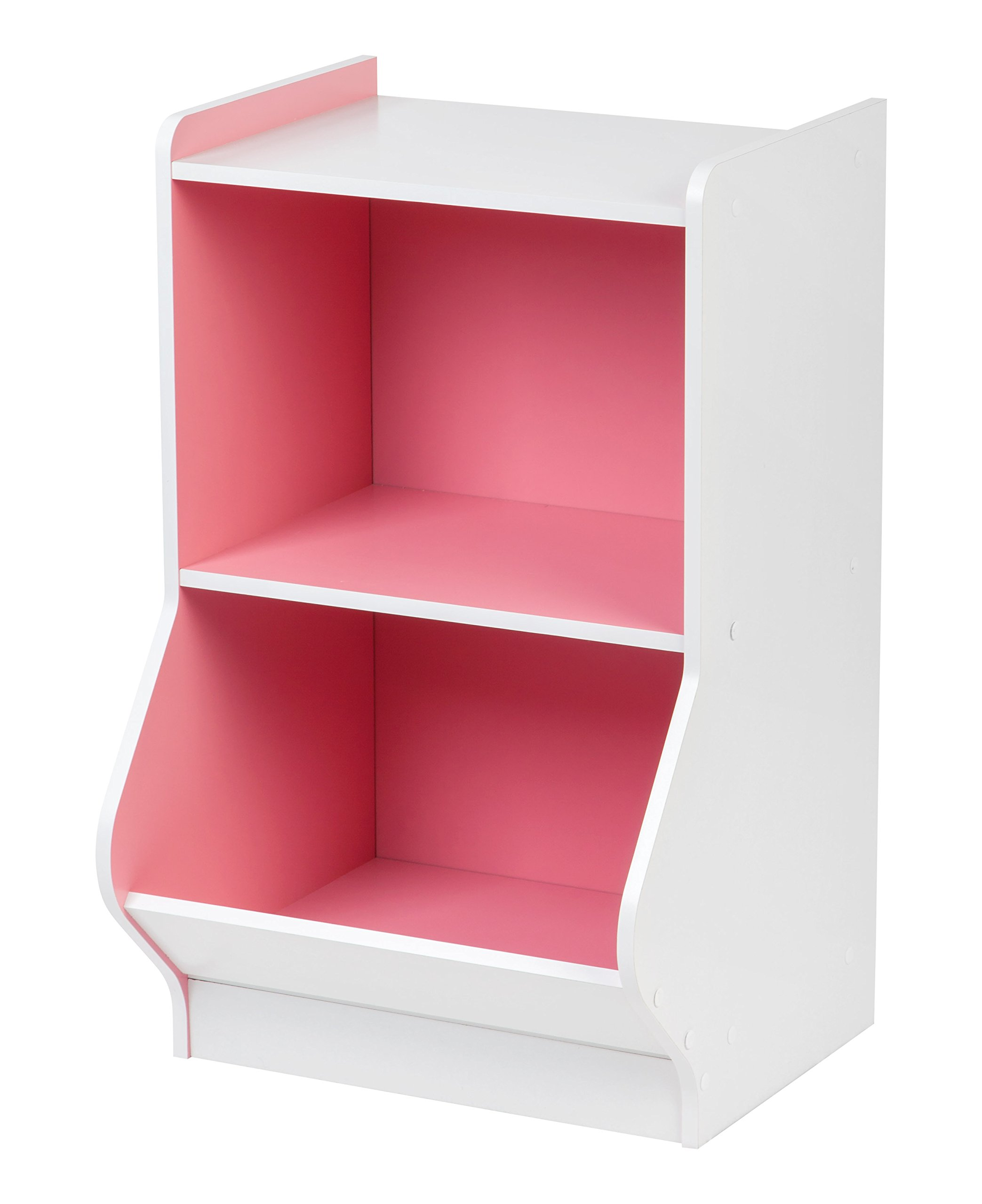IRIS 2-Tier Storage Organizer Shelf with Footboard, White and Pink