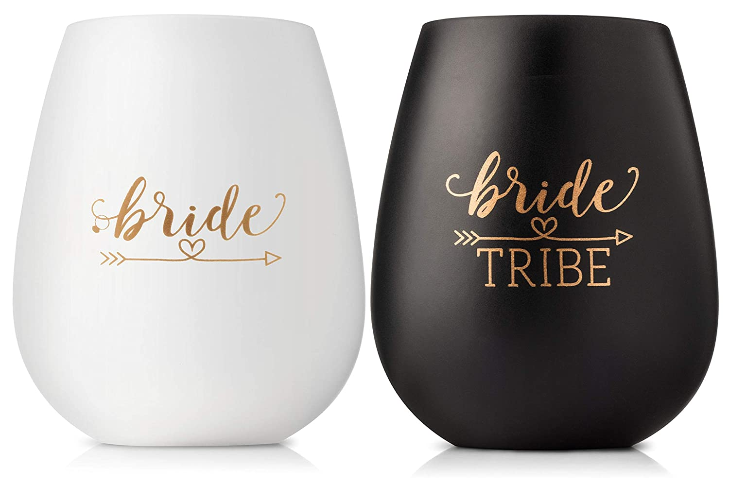 Bride Tribe Bachelorette Party Cups | Set of 10 Black & Gold Silicone Wine Glasses | Instagram Ready | Great for Bridal Showers & Weddings | Team Bride & Bridesmaids Gifts, Supplies, Decorations