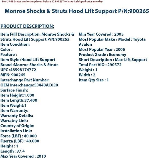 Hood Lift Support fits 2006-2010 Kia Optima  MONROE SHOCKS//STRUTS