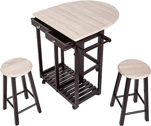 Kinsuite - Juego de Mesa Plegable con 2 taburetes y 2 cajones, diseño de Isla de Cocina con Ruedas: Amazon.es: Juguetes y juegos