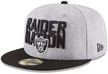 New Era Authentic Raiders Heather Gray Black 2018 NFL Draft Official  On-Stage 59FIFTY b7958c66d