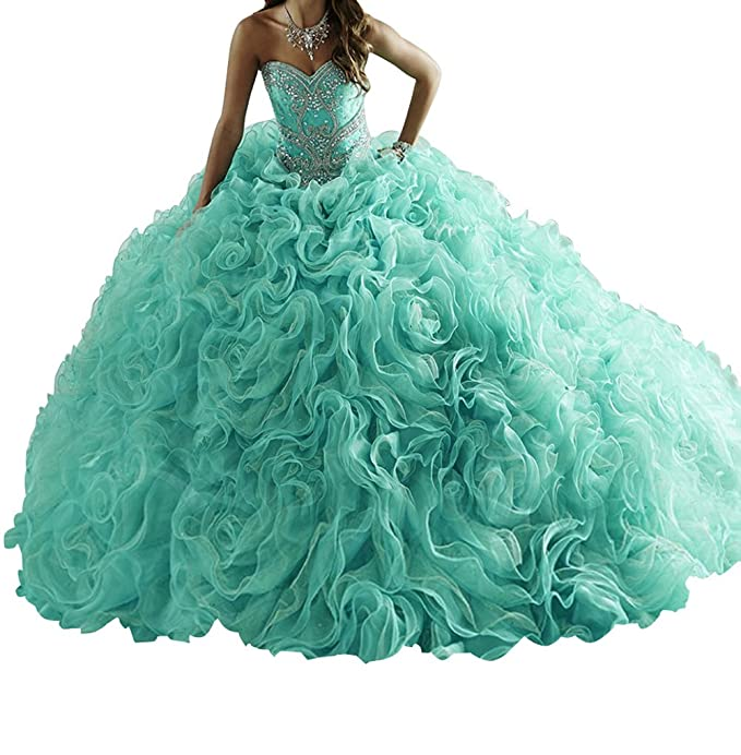 02b68648954 BoShi Women s Beads Long Train Ruffled Removable Sweet 15 Quinceanera  Dresses  Amazon.ca  Clothing   Accessories
