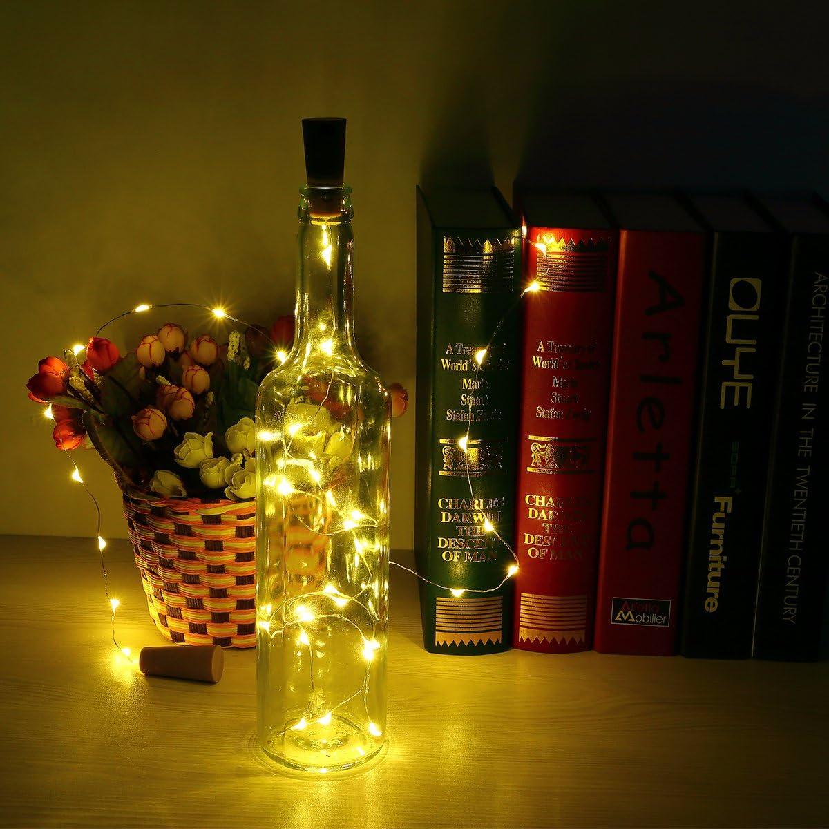 6pcs Botella Luces – 100cm botella de luz Con 20 bombillas LED, lampara botellas para la botella DIY, partido, decoración, la Navidad, Víspera de Todos los Santos, boda (Blanco cálido)