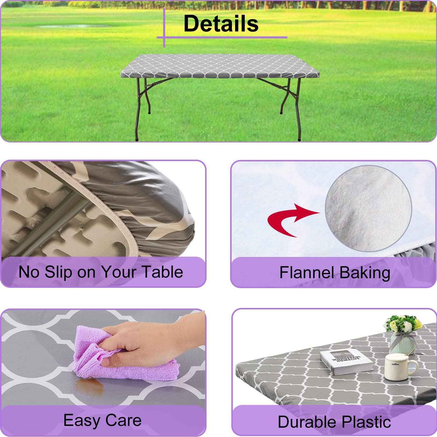 Fits 24 x 48 Inch Picnic Folding Table Waterproof Elastic Edge Vinyl Tablecloth with Flannel Baking for Outdoor Travel//Holiday//Party 4 ft Gray Moroccan Rectangular Fitted Plastic Table Cover