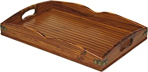 """Mountain Woods Brown Valencia Antique Style Hardwood & Bamboo Ottoman Serving Tray w/Rattan and Metal Accents 