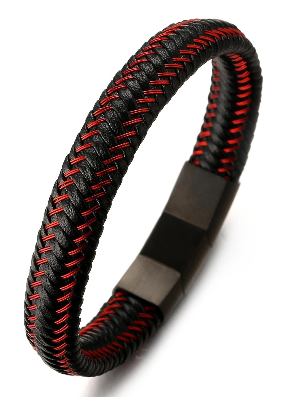 "Halukakah JAZZ Men's Genuine Leather Bracelet Titanium Magnetic Clasp Size Adjustable 8.2""-8.7""(21-22cm) with FREE Giftbox"