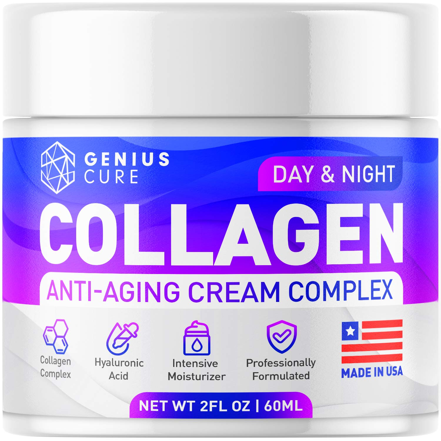 Collagen Cream - Anti Aging Face Moisturizer - Day & Night Wrinkle Cream - Hyaluronic Acid & Vitamin E - Cleanse, Moisturize, and Protect Your Skin 2oz