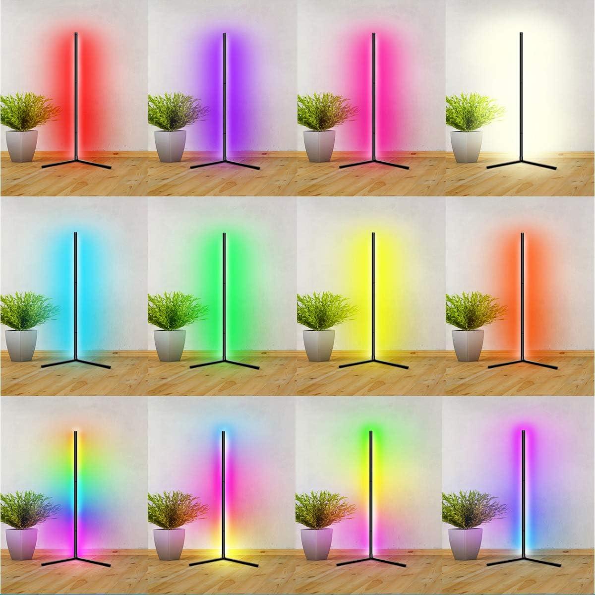 QJUZO RGB Lampara de pie LED Regulable Luz de Pie Salon con Control Remoto y Control App 16 Millones Colores DIY Sincronizaci/ón de m/úsica Iluminacion Luz de Pie LED