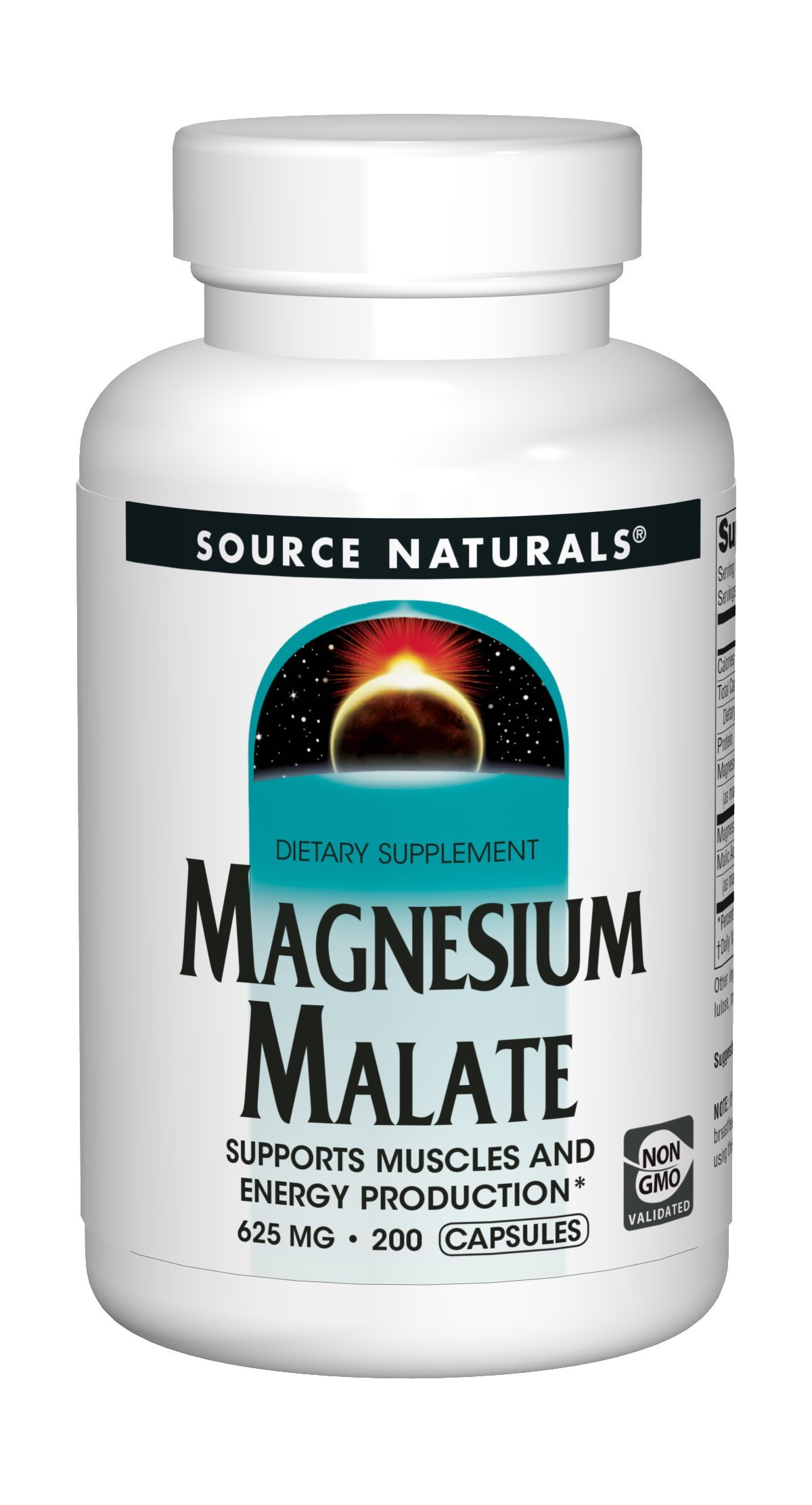 Source Naturals Magnesium Malate 625mg Supplement Essential, Bio-Available Magnesium Malic Acid Supplement - 200 Capsules