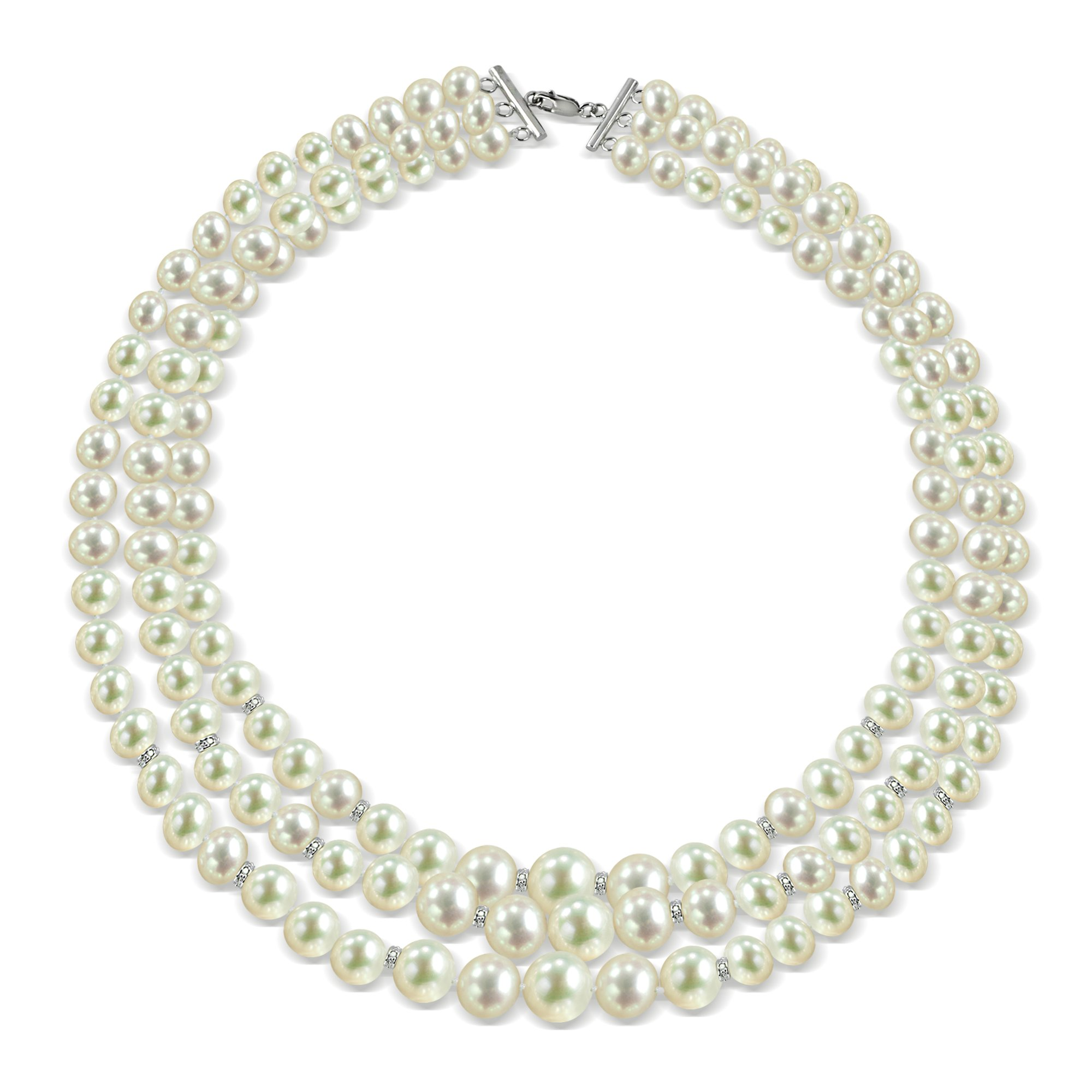 Sterling Silver .12tcw Diamond 3-rows Graduated 6-11mm Freshwater Cultured Pearl Necklace, 16''