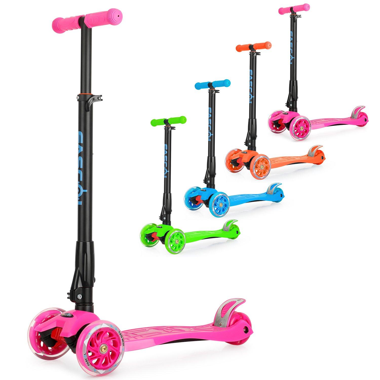 Fascol Patinete de 3 Ruedas con Diseño Scooter para Niños de 2 a 12 Años de Edad + Rodillera,Rosa