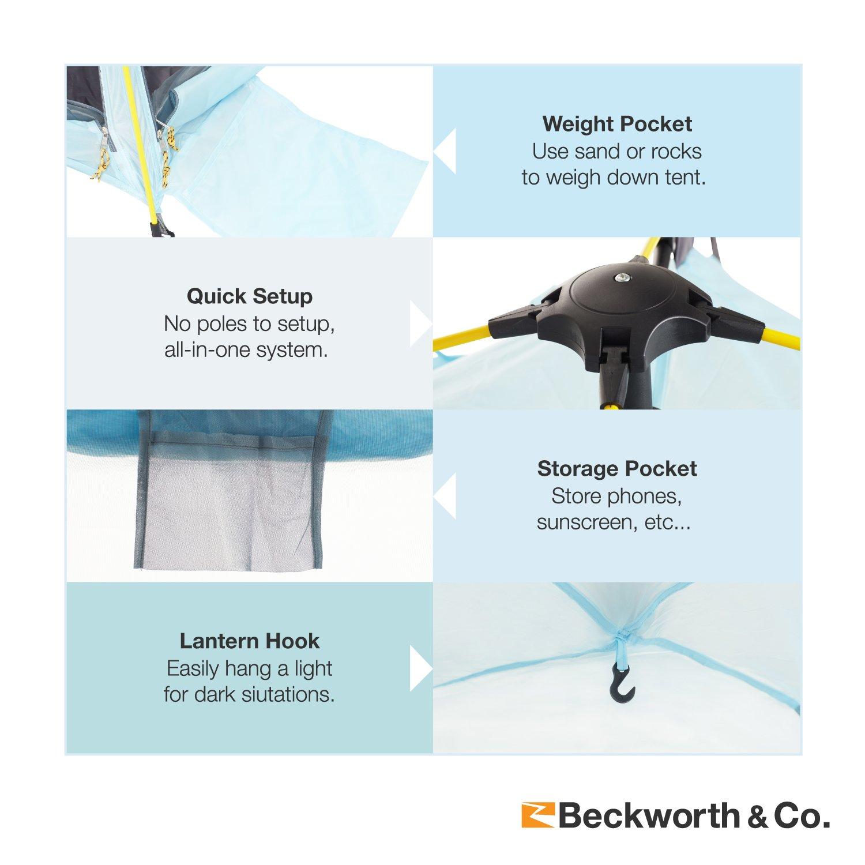 Beckworth Co. QuickFlex Multipurpose Beach Cover and Outdoor Tent – Light Blue