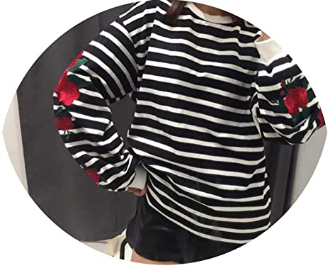 Harajuku Hoodies Roses Embroidery Lantern Sleeve Loose Striped Women Sweatshirt Girl Vintage Elegant