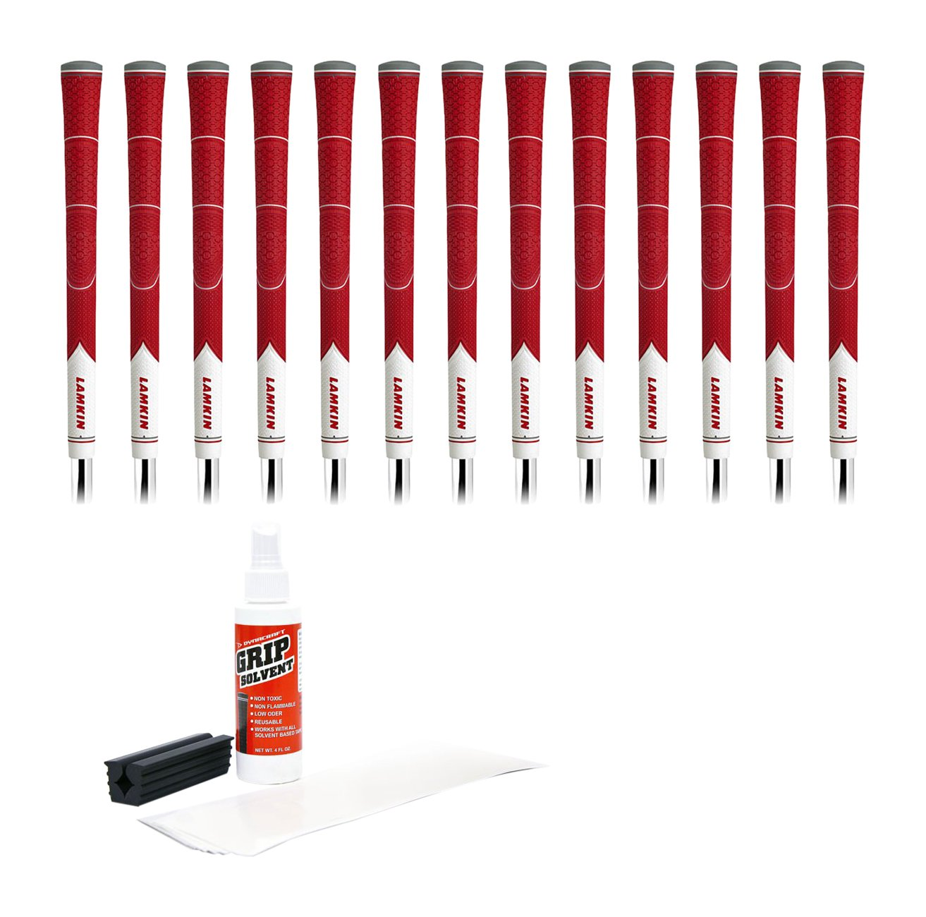 Lamkin Z5 Standard Red/White - 13Piece Golf Grip Kit (with Tape, Solvent, Vise Clamp)