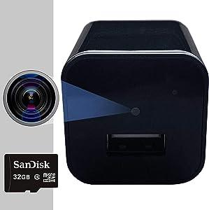 Spy Camera Charger - Hidden Camera - 32 GB SD Card Included - Premium Pack - Hidden Spy Cam - Hidden Nanny Cam - Mini Spy Camera 1080p - Hidden Cam - USB Charger Camera - Surveillance Camera Full HD