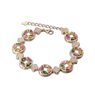 Las mujeres naturales de piedras preciosas turmalina redondo moneda 3 un cúbicos Zirconia pétalos rosa chapado en oro plata de ley extensión pulseras: ...
