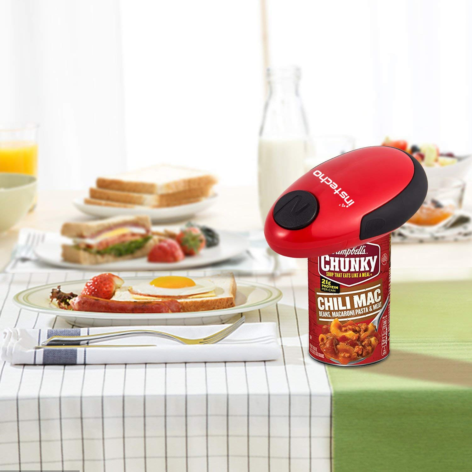 Electric Can Opener, Cakie Restaurant Can Opener Smooth Soft Edge One-touch Battery Automatic Electric Hands-free Can Opener For Kitchen Arthritis Elderly Travel and Chef's Best Choice's (Red) by instecho (Image #6)