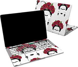 Lex Altern Vinyl Skin for MacBook Air 13 inch Mac Pro 16 15 Retina 12 11 2020 2019 2018 2017 Frida Kahlo Red Flowers Skull Art Cute Feminist Decal Sticker Touch Bar Print Wrap Design Cover Keyboard