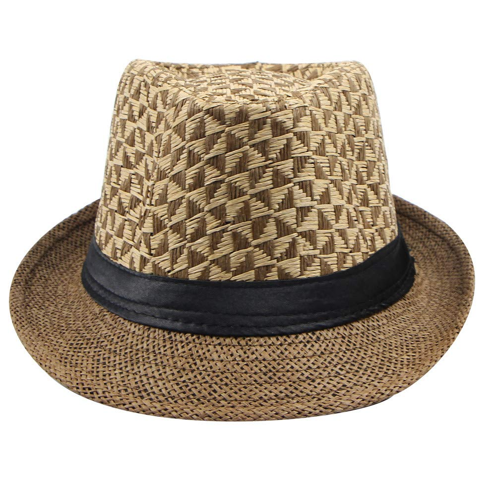 YEZIJIN Fashion Spring and Summer Men Paper Straw Plaid Curled Top Hat Seaside Hat Summer Best 2019 New Coffee