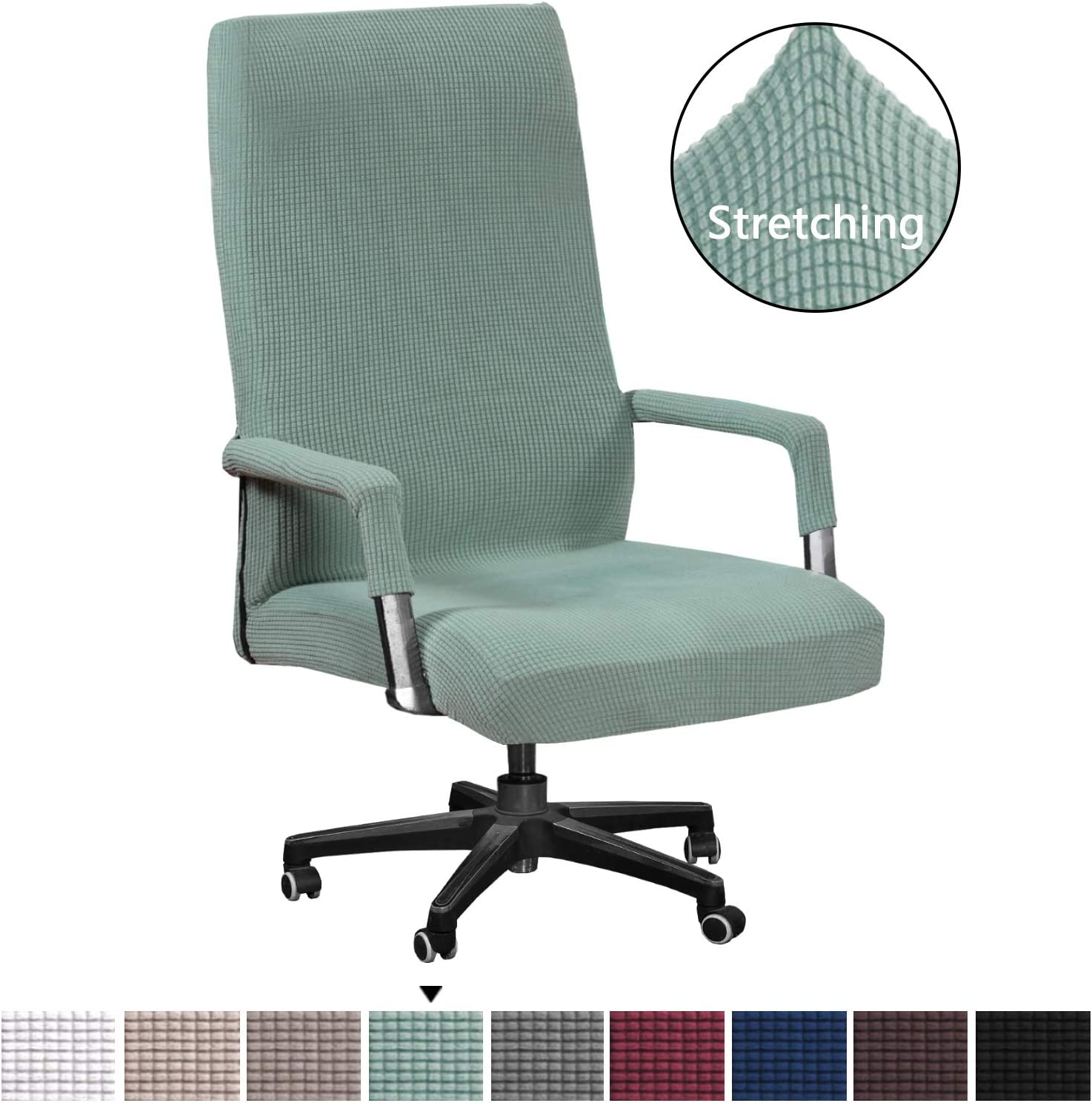 High Stretch Chair Cover Jacquard Lycra Slipcover/Form Fit Slip Resistant Furniture Protector Office Computer Chair Cover Rotating Chair Swivel Chair Cover with Armrest Covers, Oversized, Sage