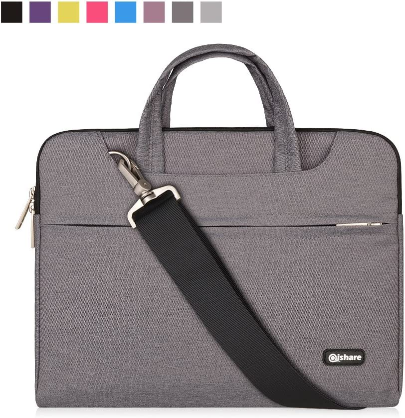 Qishare 11.6 12 inch Laptop Case Laptop Shoulder Bag, Multi-functional Notebook Sleeve Carrying Case With Strap for Notebook Microsoft Surface Pro 6/5/4/3 Macbook Air 11 12(Gray)