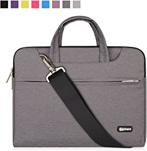 Qishare 15 15.6 16 inch Laptop Case Laptop Shoulder Bag, Multi-functional Notebook Sleeve Carrying Case With Strap for Lenovo Acer Asus Dell Lenovo Hp Samsung Ultrabook Chromebook 15(Gray)