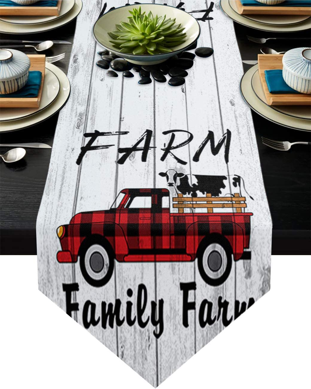 BedSweet Cotton Linen Table Runner Towel Light and Luxurious for Dinning American Farmhouse Theme Red Lattice Truck with Cow Table Runners for Home Decor Outdoor Parties 16 x 72 Inch