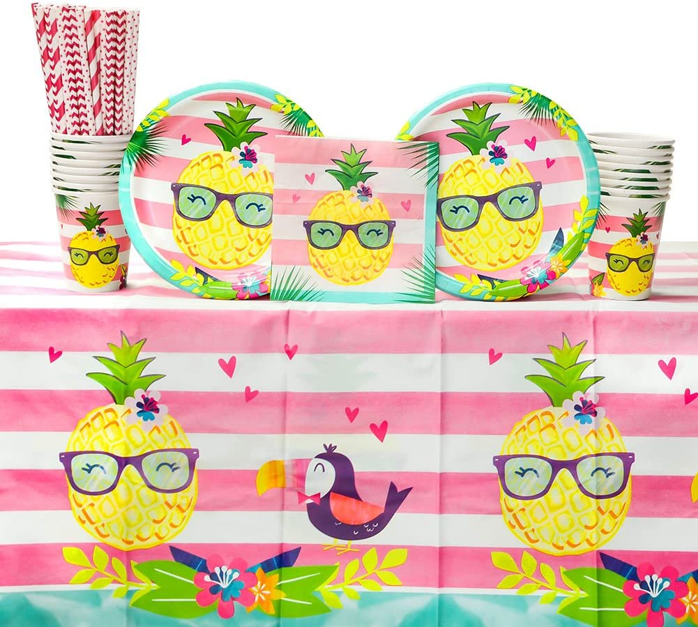 Pineapple n' Friends Luau Birthday Party Supplies Pack for 16 Guests | Straws, 16 Dinner Plates, 16 Luncheon Napkins, 1 Table Cover, and 16 Cups |Pineapple, Toucan, Flamingo Design | Summer Fun