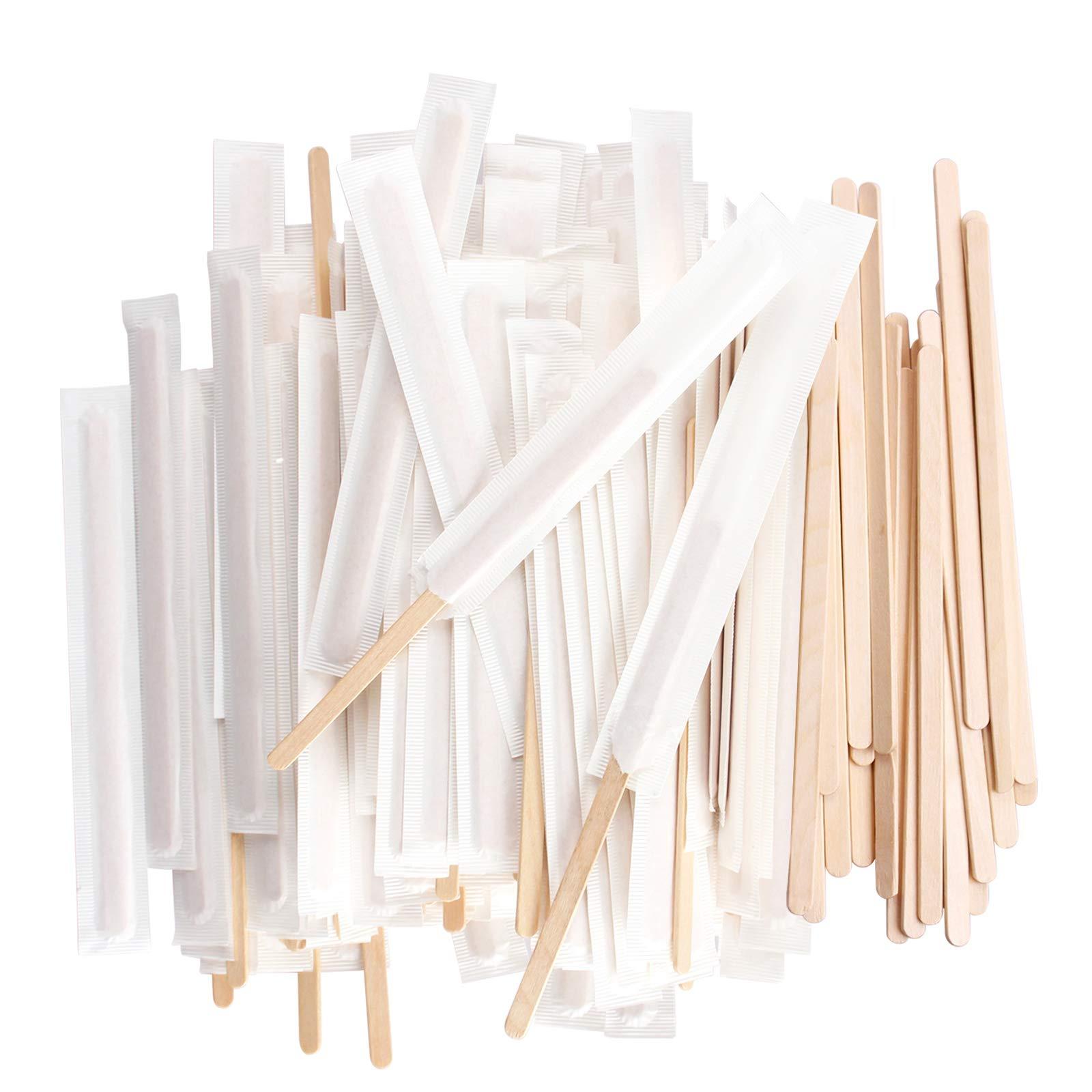 Disposable Birchwood Tea Wood Coffee Stir Sticks Wooden Stirrers 500 Pcs (5.5 inch Paper Wrapped premium quality)