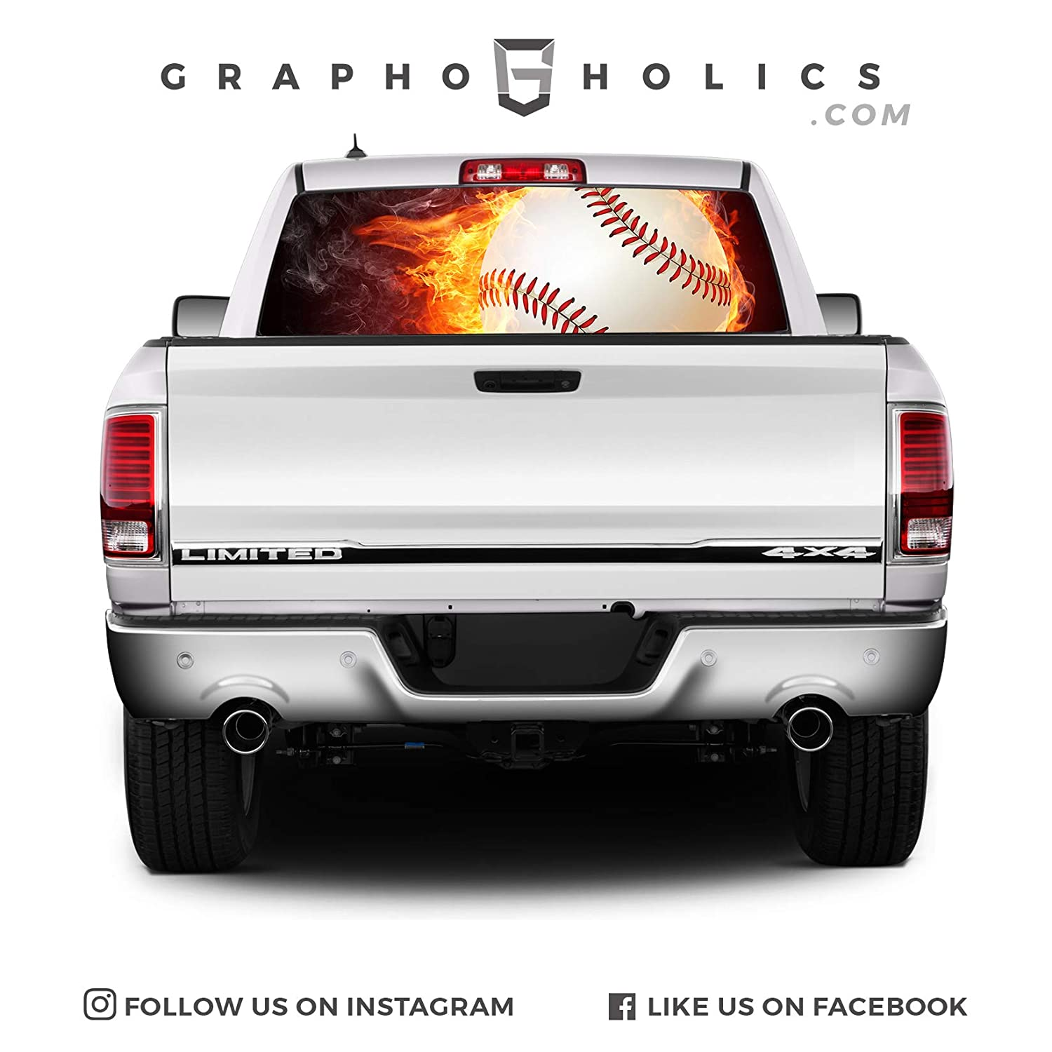 Fire Ball Baseball Pick-Up Truck Perforated Rear Window Wrap