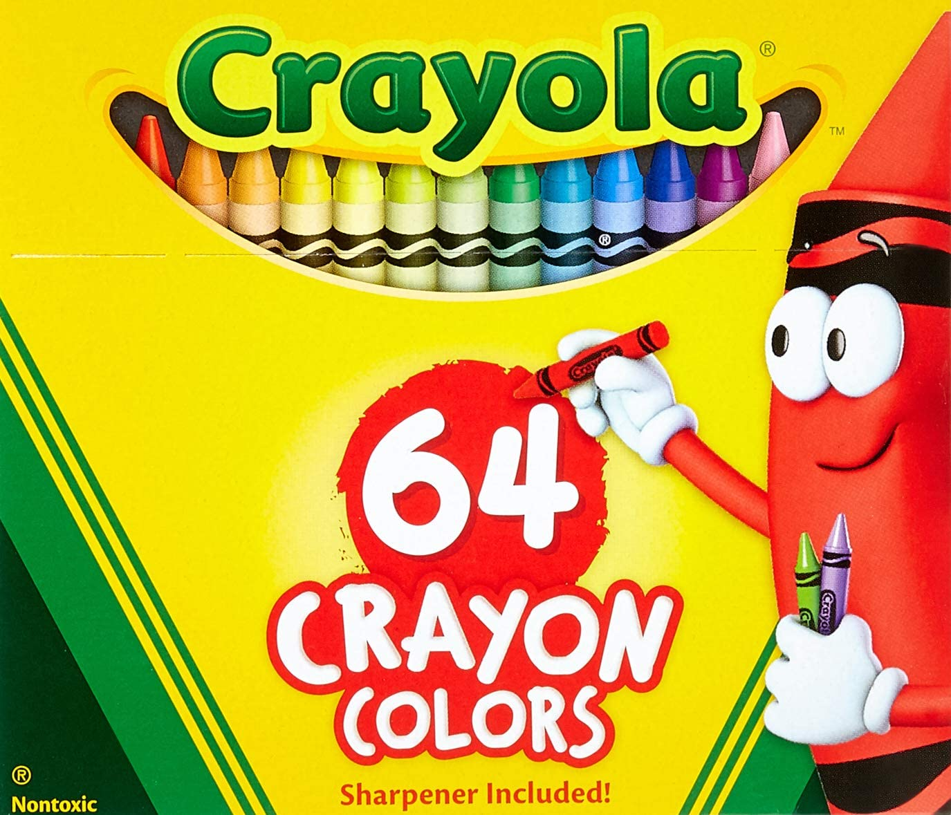 Sealed Crayola Crayons Box with Built-In Sharpener 64 Count assorted colors