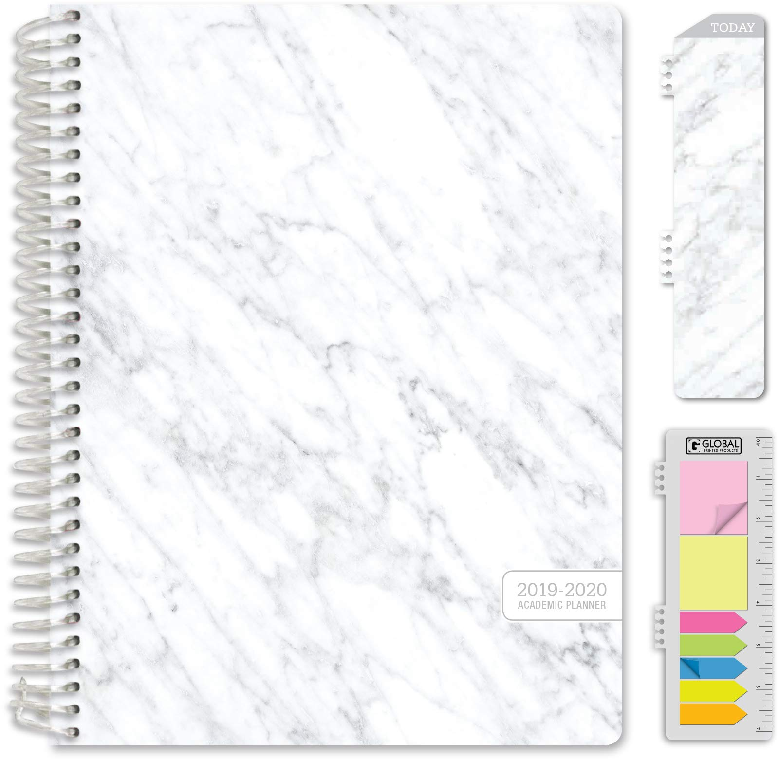 HARDCOVER Academic Year 2019 Planner: (July 2019 Through July 2020) 8.5''x11'' Daily Weekly Monthly Planner Yearly Agenda. Bonus Bookmark, Pocket Folder and Sticky Note Set (Grey Marble)