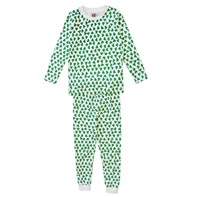 Kids Long Sleeved Pyjamas With All Over White Shamrock Design, Green Colour
