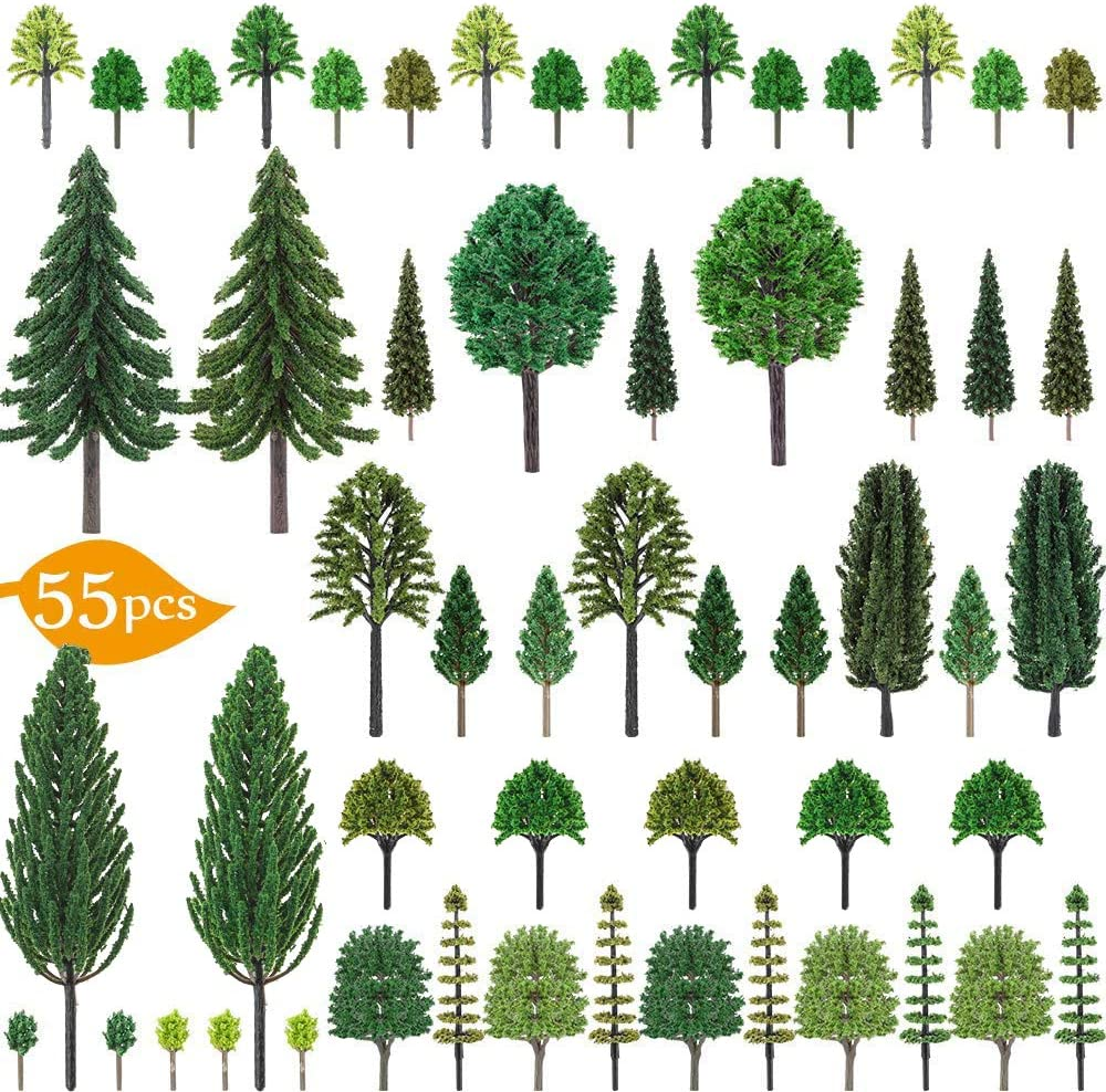 Nilos 55pcs Mixed Model Trees Miniature Trees for Woodland Scenics, Toy Trees for Model Train Scenery, Fake Trees for Projects, Model Scenery with No Bases for DIY Crafts