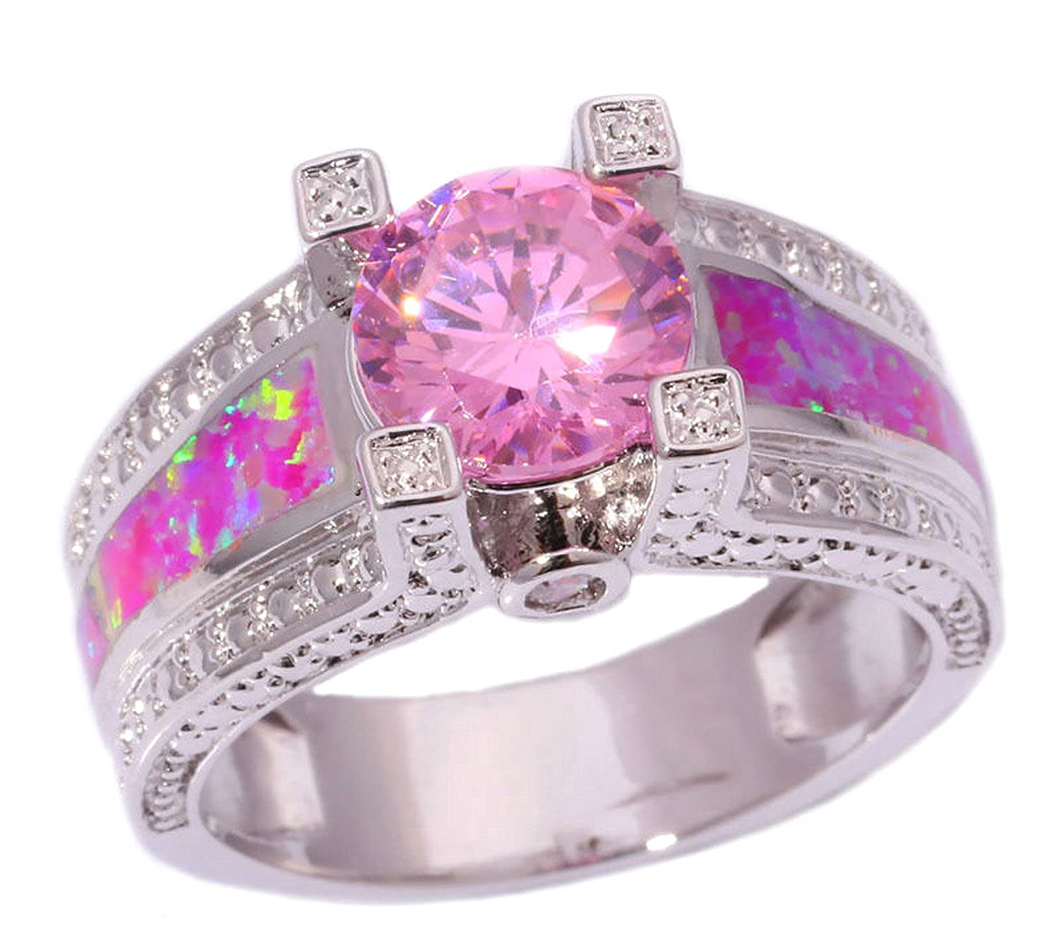 Amazon.com: Dudee Created Opal Pink Zircon rose gold engagement ring ...