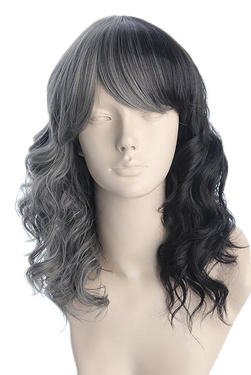 topcosplay de la mujer peluca de pelo rizado medio largo dos tono Ombre Full pelucas