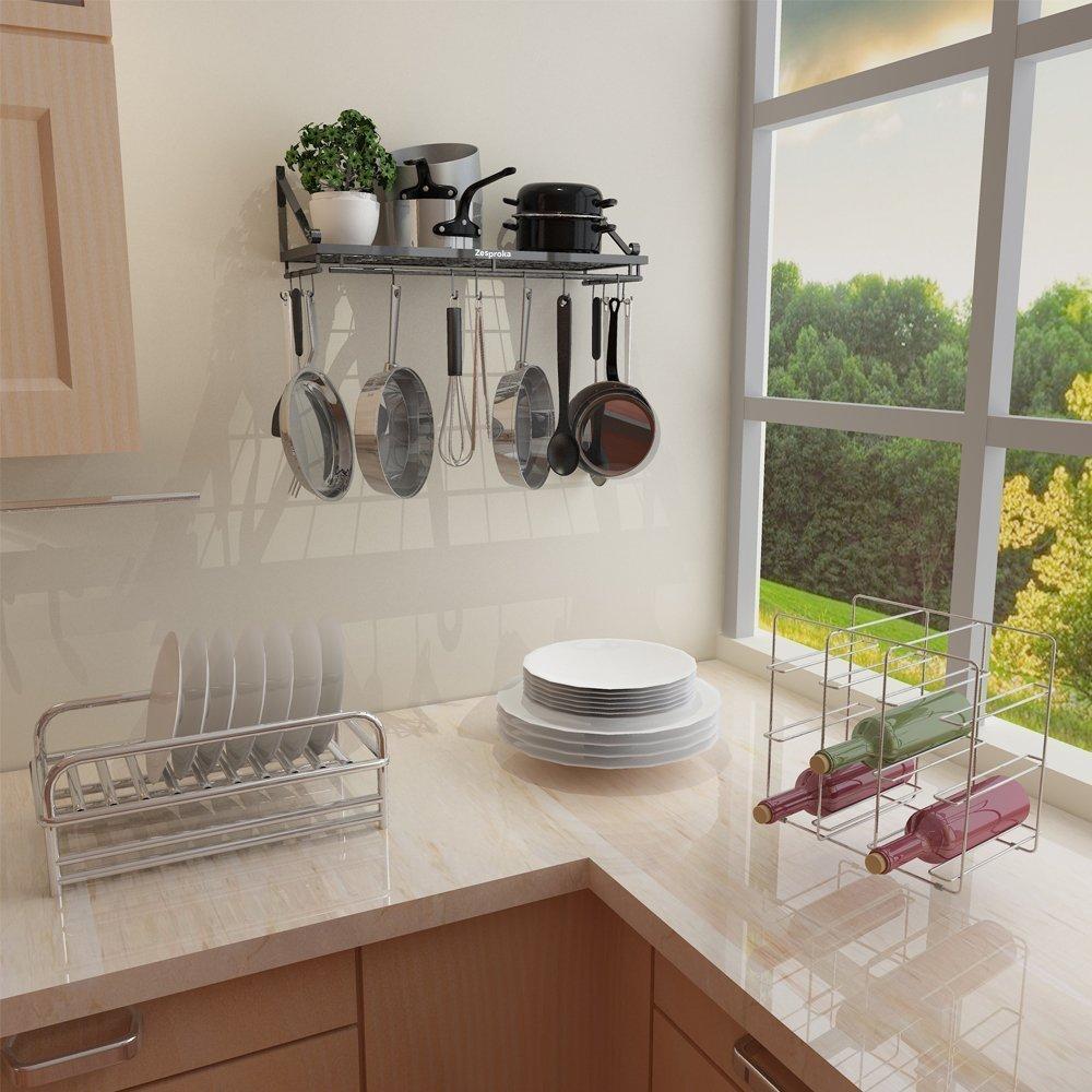 ZESPROKA Kitchen Wall Pot Pan Rack,With 10 Hooks,Black FBA_JW-SL5E-AJVR