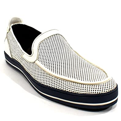 40dba71193f BALDININI Men s Off White Leather Loafer Flats Shoes ...