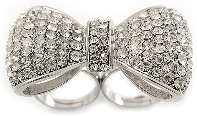 Clear Pave Set Cubic Zirconia Bow Ring Rhodium Plated Sterling Silver